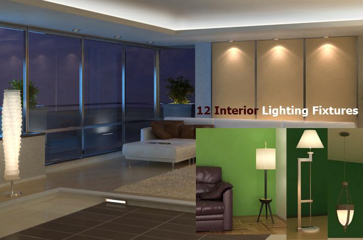 3d model 12 interior lighting fixtures