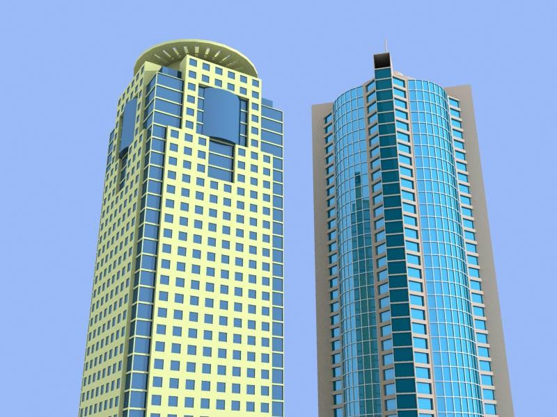 2 shanghai skyscrapers buildings 3d model
