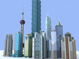 3ds max china skyscrapers tower