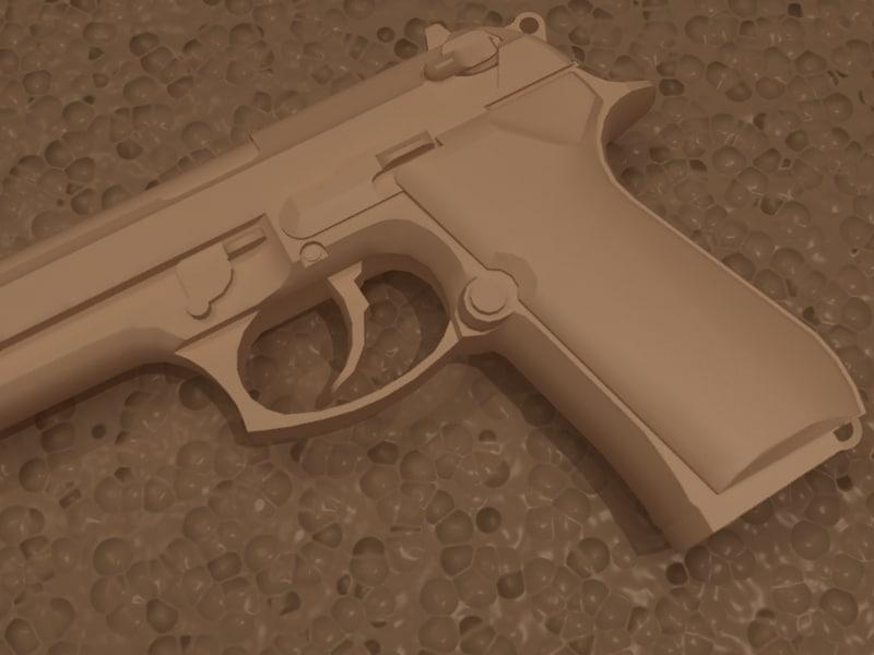 handgun beretta m9 modeled 3d model