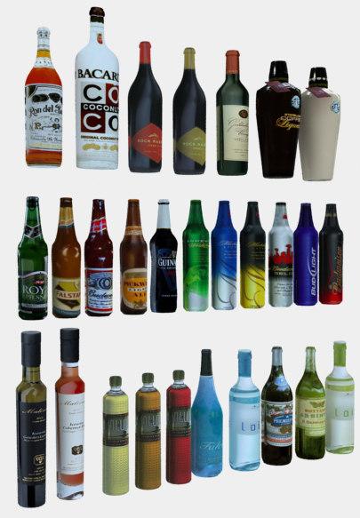 bottles large 3d max