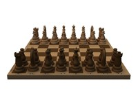 chess board pieces 3d 3ds