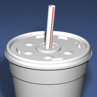 Styrofoam Cup with Plastic Lid and Straw