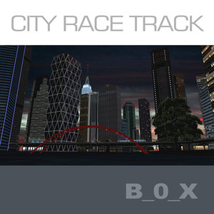 racing circuit skyscrapers night 3d max