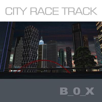 racing circuit skyscrapers night 3d max