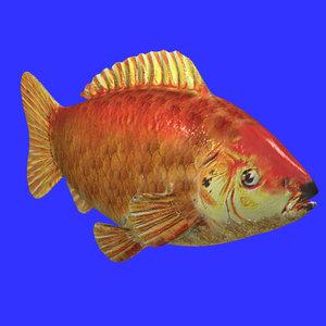 gold fish 3d obj