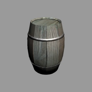 3ds low-poly barrel