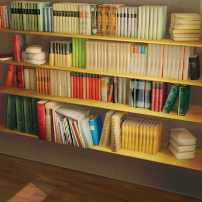 books literature library 3d model