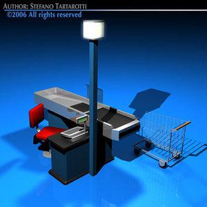 supermarket cashtill shopping cart 3d 3ds