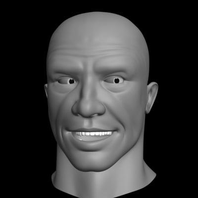 3d model polygonal male head layed