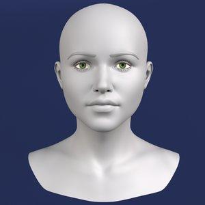 polygonal female head 3d model