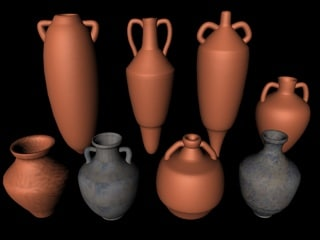 3d roman amphorae model