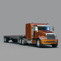 Semi Truck  with  flatbed trailer