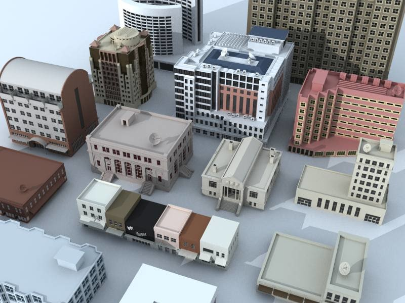 3d model small medium rise buildings
