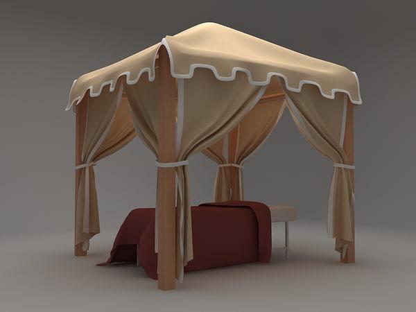 3d model beach cabana bed