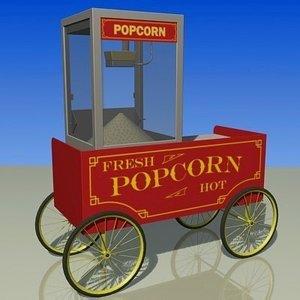 cart popcorn 3d max
