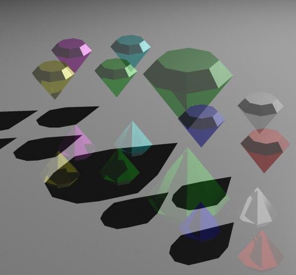 free sonic hedgehog chaos emeralds 3d model
