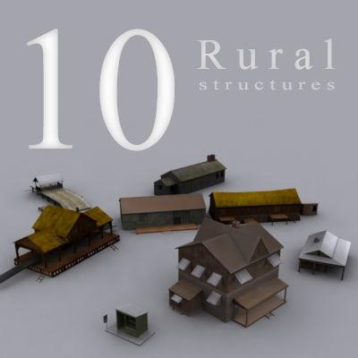 rural houses barrack 3d model