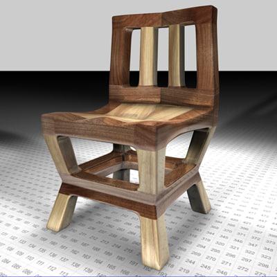 cinema4d wood chair