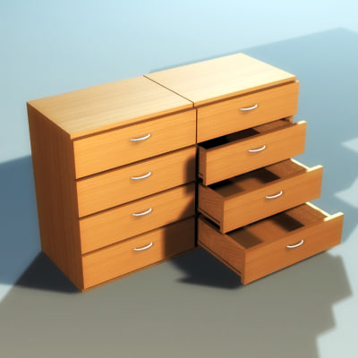 3d model of drawer cabinet