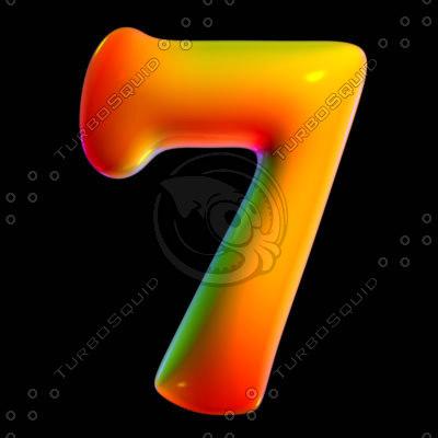 3d model organic font seven