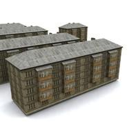 3d soviet house hrushevka model