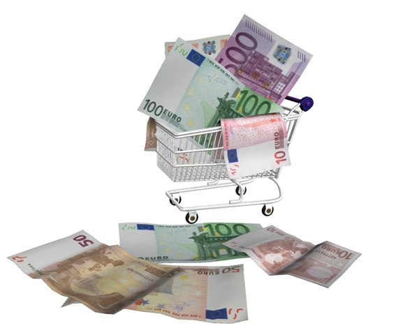 shopping cart money 3d model