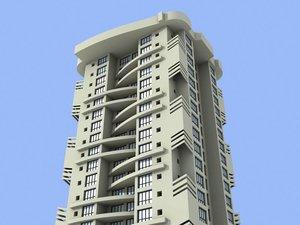 3d mumbai skyscraper building model