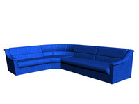 3d model simple sofa blue