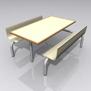 cafe diner seat bench 3d model