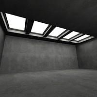 3d roof windows interior scene
