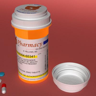 3d model of prescription pill bottle