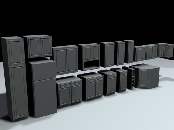 kitchen cabinets fridge 3d max