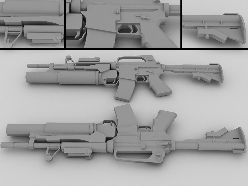 m4a1 m203 3d model