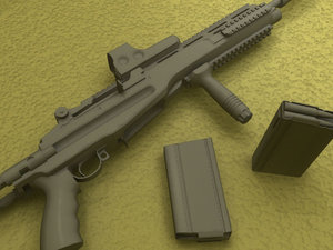 troy m14 sopmod assault rifle 3d model