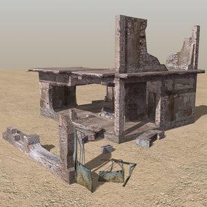 3d arab derelict houses ruin model