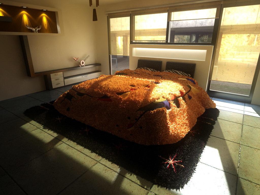 bedroom minimalism 3d max