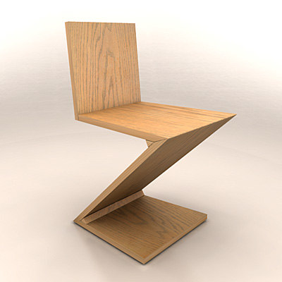 3ds max zig-zag chair