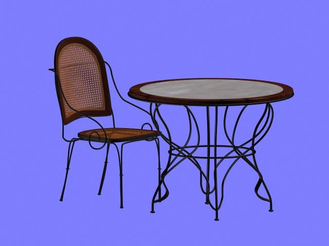 rod iron table chair 3d max