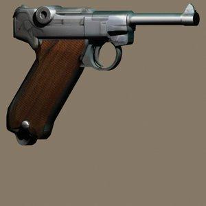 3d model luger gun