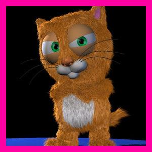 3d cartoon cat character rigged model