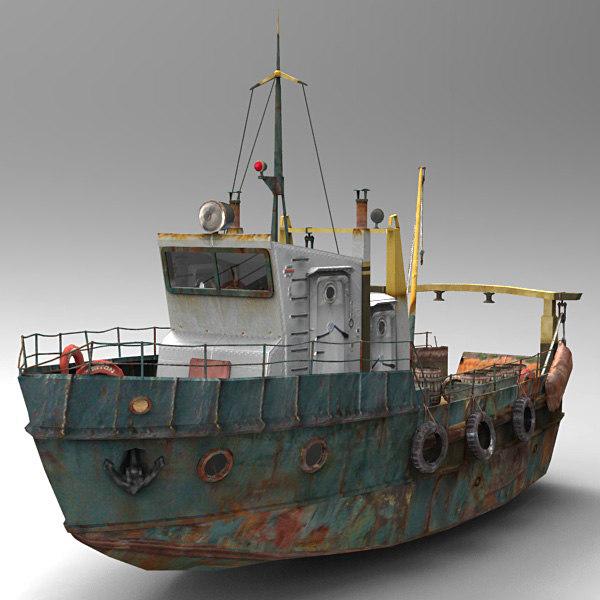3d model fish trawler