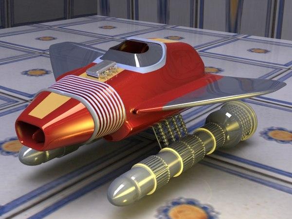 cartoon spacecraft space 3d obj