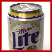 355ml miller lite beer 3d model