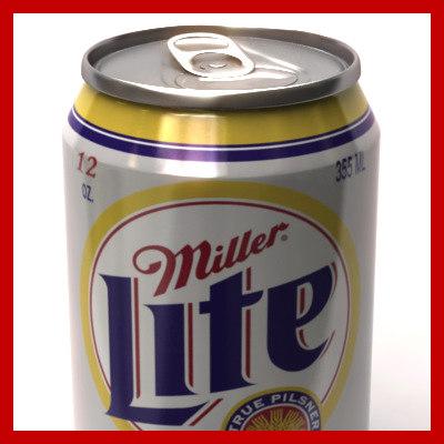 355ml miller lite beer 3d model