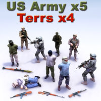 3d insurgent terrorist character military model