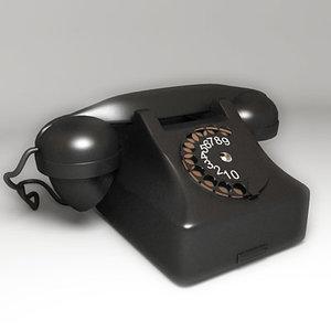 3d model vintage telephone