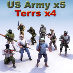 insurgent terrorist character military 3d model