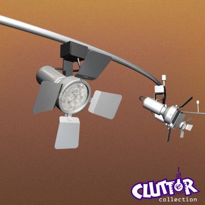 3d curved track light spotlight model