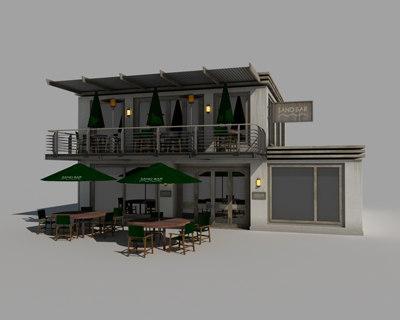 cafe bar 3d model